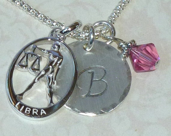 Personalized Libra Zodiac Hand Stamped Sterling Silver Initial Charm Necklace