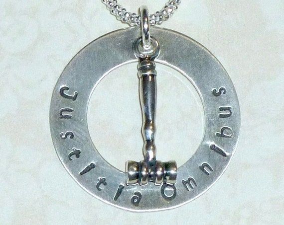 Justitia Omnibus Hand Stamped Sterling Silver Gavel Washer Charm Necklace