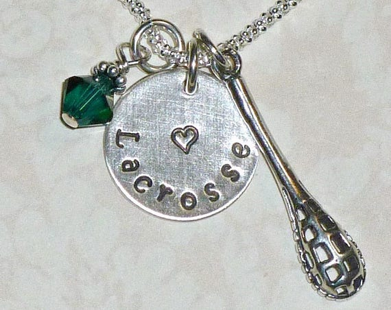 Love Lacrosse Hand Stamped Sterling Silver Charm and Crystal Birthstone Necklace