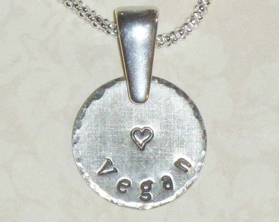 Vegan Love Hand Stamped Sterling Silver Charm Necklace with Bail