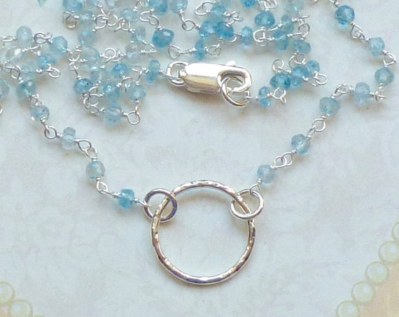 Sterling Silver wrapped Blue Topaz Gemstone Rosary Chain Necklace with Sterling Silver Hammered Circle