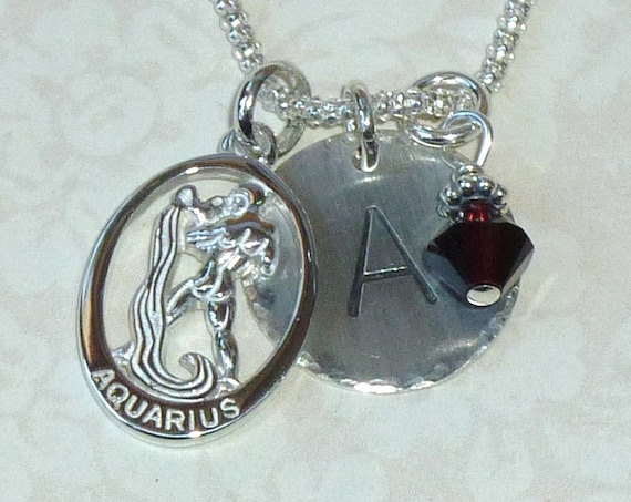 Personalized Aquarius Zodiac Hand Stamped Sterling Silver Initial Charm Necklace