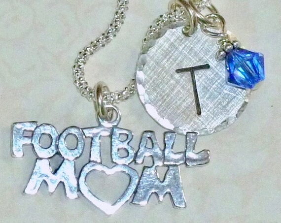 Personalized Football Mom Hand Stamped Sterling Silver Initial Charm Necklace