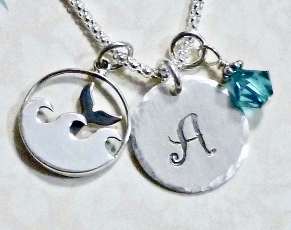 Ocean Wave Whale Tail Hand Stamped Sterling Silver Initial Charm Necklace