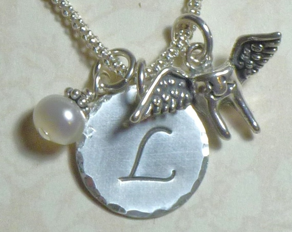 Personalized Flying Tooth Hand Stamped Sterling Silver Initial Charm Necklace