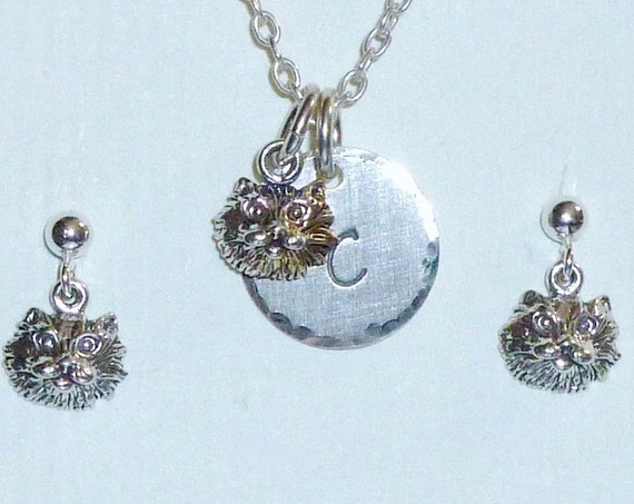 Cat Hand Stamped Sterling Silver Petite Initial Charm Necklace and Earring Jewelry Set - Cat Lover Gift