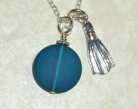 Scuba Diver Swim Fin Sterling Silver Charm Necklace with Recycled Sea Glass Dangle