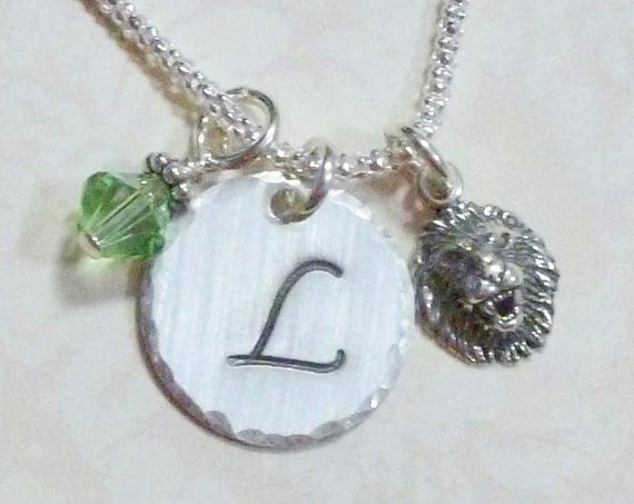Personalized Lion Hand Stamped Sterling Silver Initial Charm Necklace