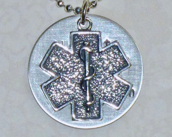 Personalized Star of Life Medical or Allergy Alert Hand Stamped Sterling Silver Necklace
