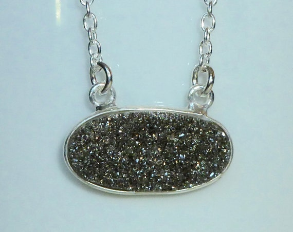Black Diamond Druzy Sterling Silver Necklace