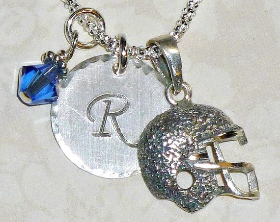 Personalized Football Helmet Hand Stamped Sterling Silver Initial Charm Necklace