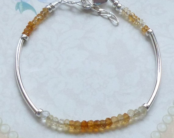 Natural Ombre Shaded Citrine Rondelle Beaded Gemstone Sterling Silver Curved Tube Stacking Bracelet