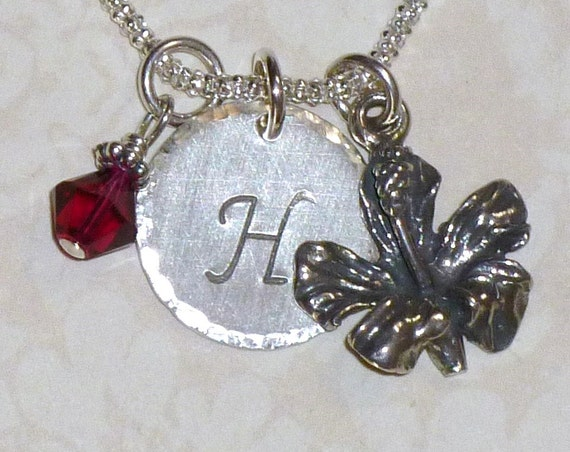 Personalized Hibiscus Flower Hand Stamped Sterling Silver Initial Charm Necklace