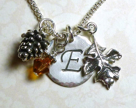 Personalized Pine Cone and Oak Leaf Hand Stamped Sterling Silver Initial Charm Necklace
