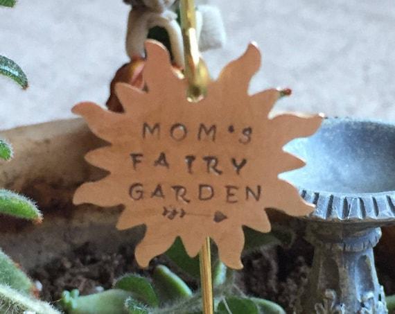 Personalized Mom's Fairy Garden Miniature Brass Sunburst Garden Sign with Heart Arrow