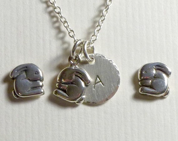 Personalized Bunny Hand Stamped Sterling Silver Initial Charm Necklace and Earring Jewelry Set