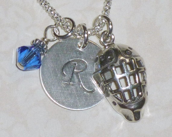 Personalized Ice Hockey Goalie Mask Hand Stamped Sterling Silver Initial Charm Necklace