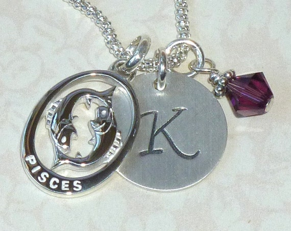Personalized Pisces Zodiac Hand Stamped Sterling Silver Initial Charm Necklace