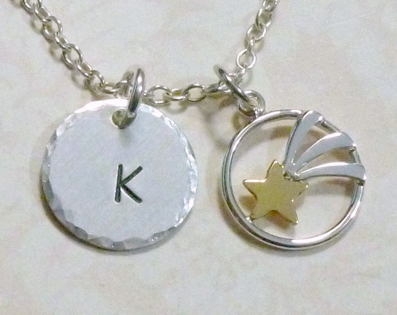 Personalized Celestial Shooting Star Hand Stamped Sterling Silver Initial Charm Necklace