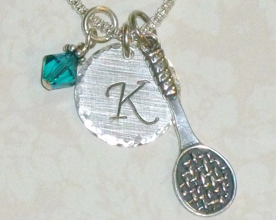Personalized Tennis Racket Hand Stamped Sterling Silver Initial Charm Necklace