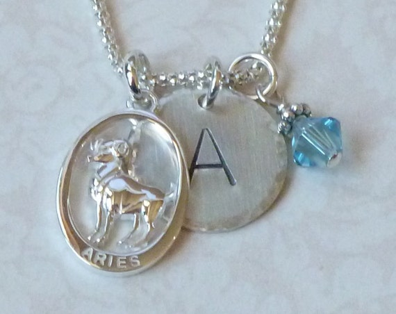 Personalized Aries the Ram Zodiac Hand Stamped Sterling Silver Initial Charm Necklace