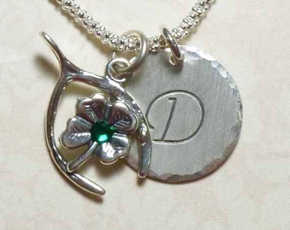 Wishbone Hand Stamped Sterling Silver Initial Charm Necklace with 4 Leaf Clover and Emerald Crystal