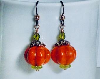 Autumn Pumpkin Earrings on Hypoallergenic Niobium Ear Wires