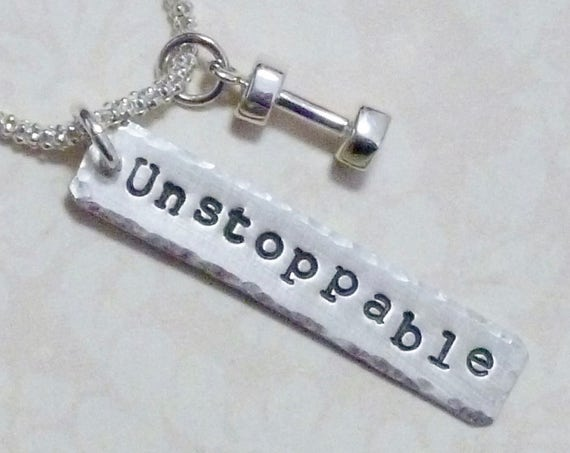 Unstoppable Dumbbell Fitness Hand Stamped Sterling Silver Charm Necklace