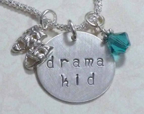 Drama Kid Comedy Tragedy Mask Hand Stamped Sterling Silver Charm Necklace