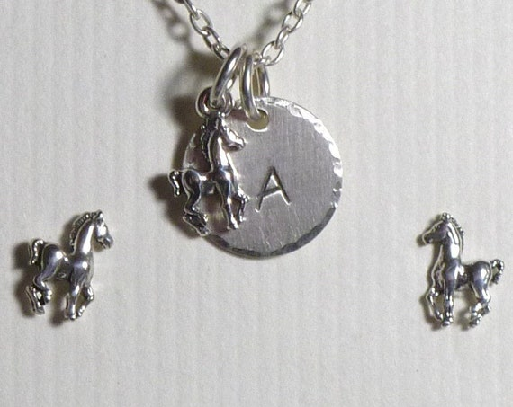 Personalized Equestrian Horse Hand Stamped Sterling Silver Petite Initial Charm Necklace and Post Earring Jewelry Set