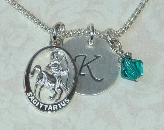 Personalized Sagittarius Zodiac Hand Stamped Sterling Silver Initial Charm Necklace