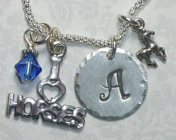 Personalized Equestrian I love Horses Hand Stamped Sterling Silver Initial Charm Necklace