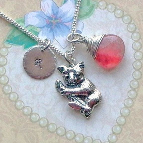 Personalized Koala Bear Petite Initial Hand Stamped Sterling Silver Charm Necklace with Briolette
