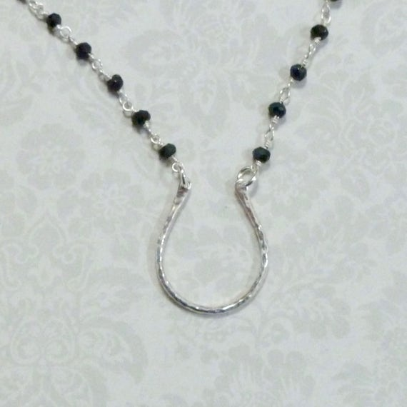 Equestrian Horseshoe Black Spinel Gemstone Sterling Silver Rosary Chain Necklace