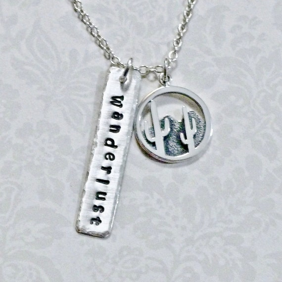 Wanderlust Desert Cactus Hand Stamped Sterling Silver Charm Necklace