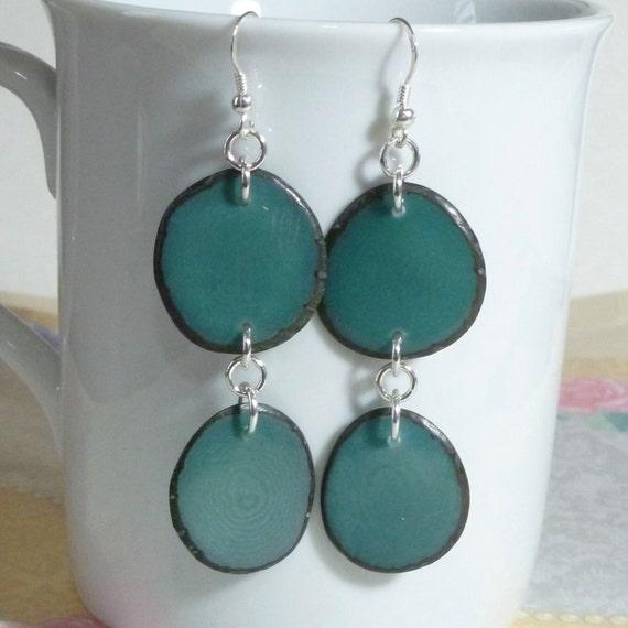 Teal Blue Tagua Nut Slice Hanging Sterling Silver Earrings
