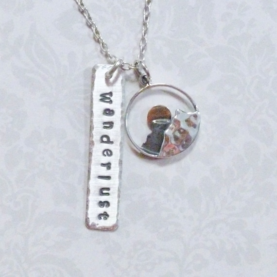 Wanderlust Mountain Range Rising Sun Hand Stamped Sterling Silver Charm Necklace