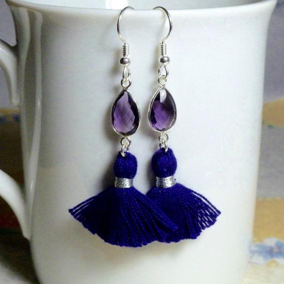 Amethyst Quartz Purple Tassel Earrings