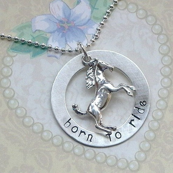 Personalized Sterling Silver Stallion Horse Name Washer Necklace