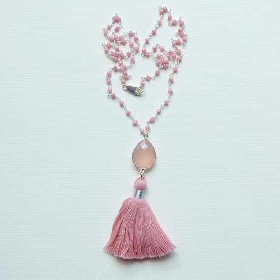 Rose Chalcedony Quartz Sterling Silver Rosary Chain Pink Tassel Necklace