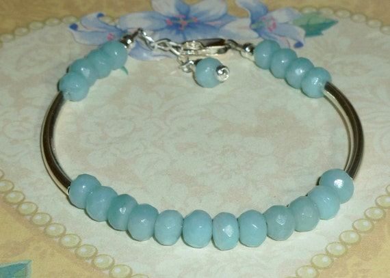 Beaded Green Faceted Amazonite Gemstone Sterling Silver Adjustable Curved Tube Bracelet