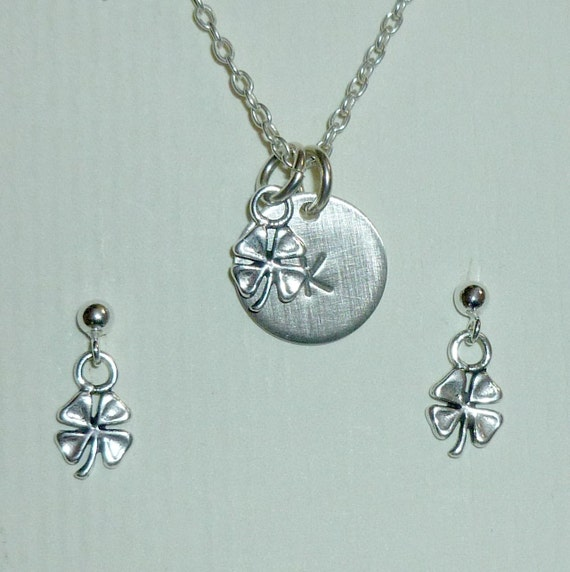 Shamrock Four Leaf Clover Hand Stamped Sterling Silver Petite Initial Charm Necklace and Earring Jewelry Set