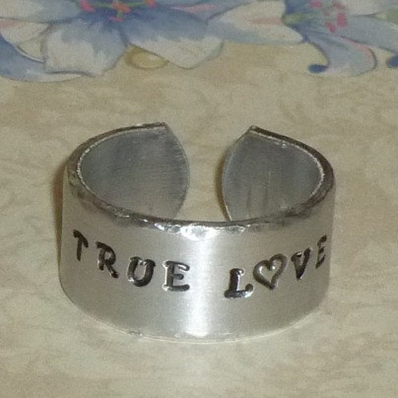 Custom Personalized Hand Stamped Wide Aluminum Band Ring