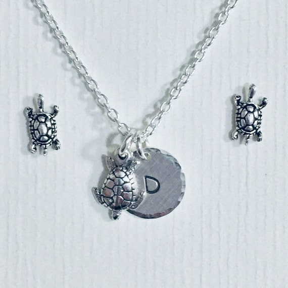 Personalized Turtle Hand Stamped Sterling Silver Petite Initial Charm Necklace and Earring Jewelry Set