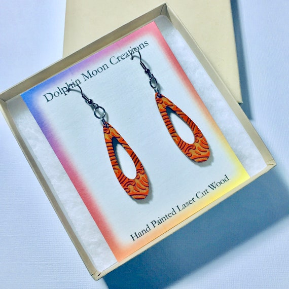 Hand Painted Laser Cut Wood Orange Tribal Teardrop Earrings