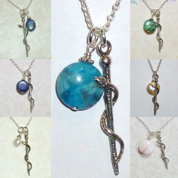 Rod of Asclepius Sterling Silver Charm Necklace, You Choose One Dangle