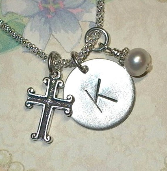 Personalized Scrolled Cross Hand Stamped Sterling Silver Initial Charm Necklace