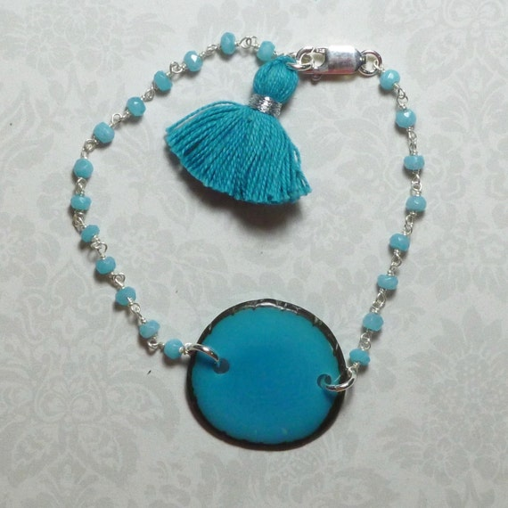 Aqua Chalcedony and Turquoise Tagua Nut Sterling Silver Rosary Chain Tassel Bracelet