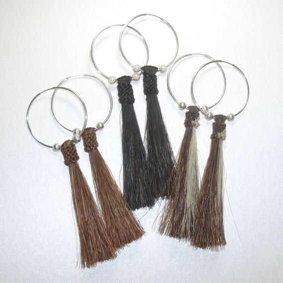 Horse Hair Tassel Hoop Earrings - You Choose Color
