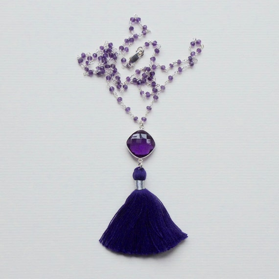 Amethyst Sterling Silver Rosary Chain Purple Tassel Necklace
